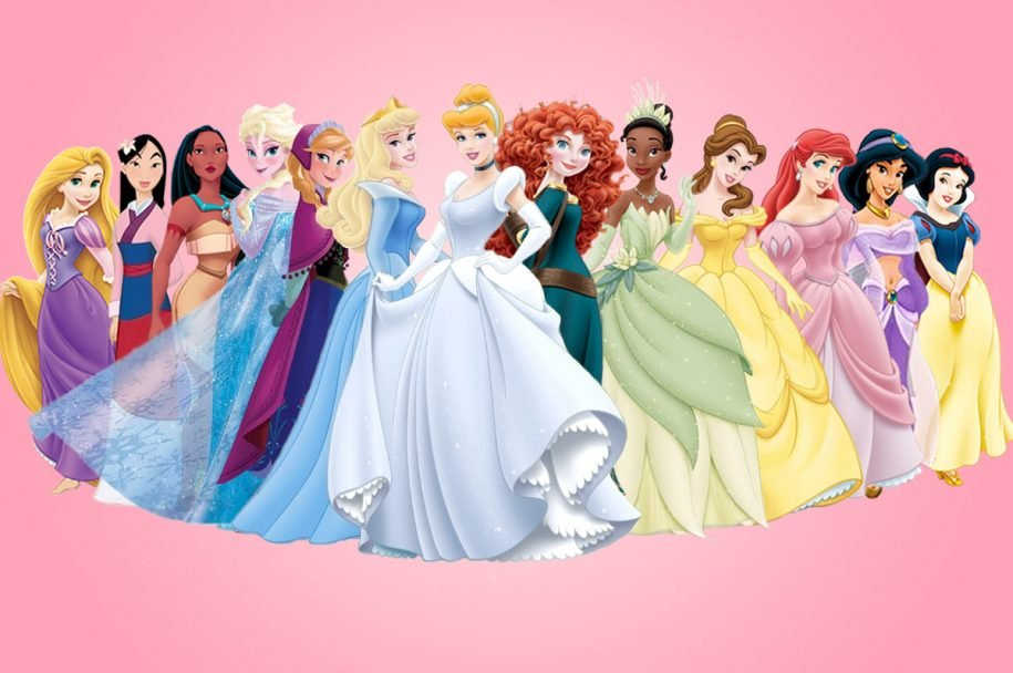 many disney princesses standing next to each other in their gowns