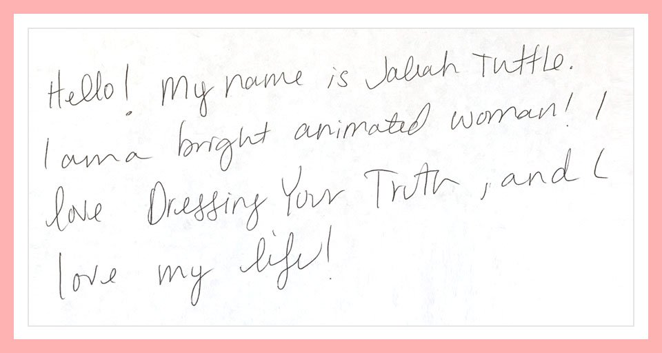 Fun and animated Type 1 person's handwriting sample