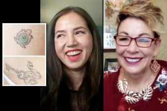what do your tattoos say about you? side by side image of Carol and a woman showing her tattoo