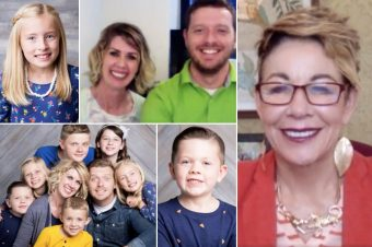 collage of blended family next to Carol on screen
