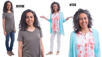 Before and after photo of women in gray clothes, and then her after with bright, colorful clothes for her Type