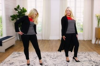 Liz shows the difference in two outfits with her Type 4/2 yin yang combo