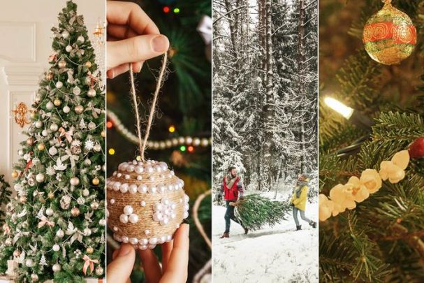 scenes of trees, decorating, and lights