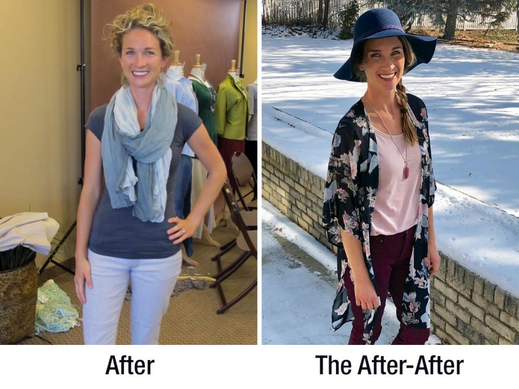 Anne Tuttle Brown showing her Dressing Your Truth Before & After picture