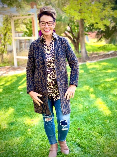 Carol Tuttle wearing Type 3 leopard print