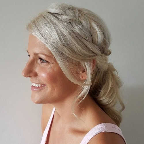 Ash Blonde Side Braid Hairstyle to Make You Look Younger