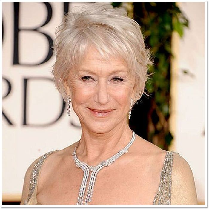 Helen Mirren Platinum Hair for Women Over 60