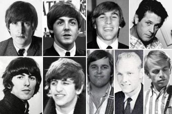 Black and white collage of The Beatles & Beach Boys
