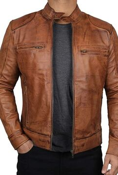 Mens Leather Jacket Real Lambskin Motorcycle Jacket