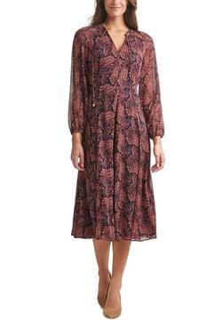 Printed Chiffon Midi Dress