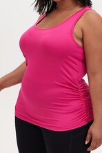 HOT PINK SHIRRED WICKING ACTIVE TANK