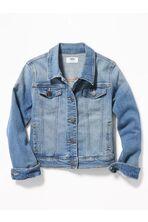 Medium-Wash Jean Jacket For Girls