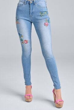 Floral Embroidered Skinny Jeans