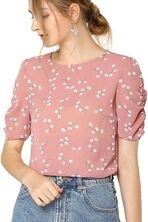 Shirred Short Sleeve Casual Floral Top