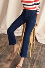 Cropped Utility Flare Jeans