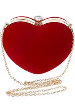 Danse Jupe Women Velvet Heart Shape Clutch Evening Bag Tote Chain Shoulder Purse