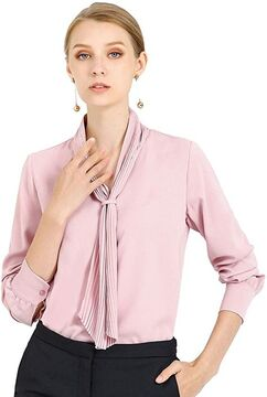 Long Sleeve Pleated Tie Neck Top Shirt
