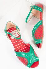 Bettie Page Red & Green Leatherette Peep Toe Fruitie Watermelon Sandals