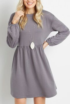 Gray Quilted Sleeves Sweatshirt Dress