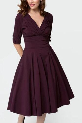 1950s Eggplant Purple Delores Swing Dress