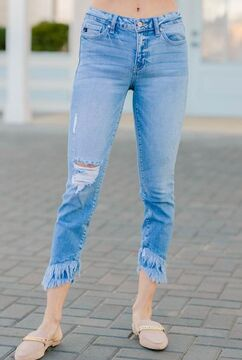 KanCan: Better Days Light Wash Mid Rise Cropped Skinny Jeans