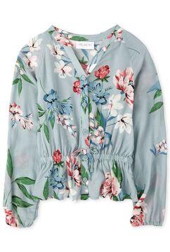 Girls Floral Dobby Peplum Button Down Shirt