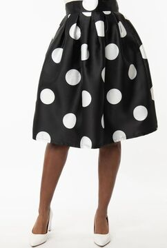 Black & White Polka Dot Gathered Swing Skirt