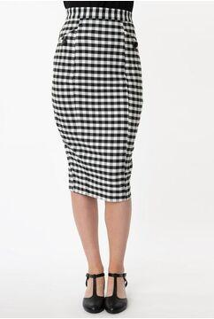 1960s Black & White Gingham Lorinna Pencil Skirt