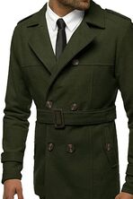 Makkrom Men's Double Breasted Trench Coat
