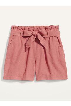 Tie-Belt Linen-Blend Shorts